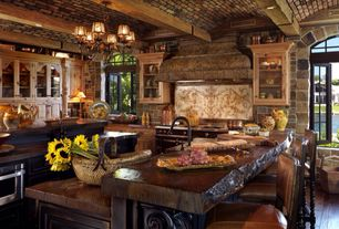 Country Kitchen with Breakfast bar, Exposed beam, Farmhouse sink, Custom hood, Live Edge Slabs, Inset cabinets, Glass panel