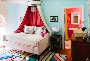 Eclectic Kids Bedroom with Wall sconce, Hardwood floors, Crown molding, Chandelier, Studded side table