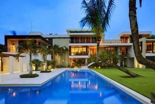 Tropical Swimming Pool with exterior tile floors, picture window, exterior concrete tile floors, Deck Railing, French doors