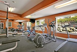 Traditional Home Gym with Carpet, Standard height, double-hung window, picture window, flush light