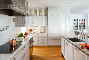 Contemporary Kitchen with Glass panel, Flat panel cabinets, Complex Marble, Complex marble counters, U-shaped, Azurite