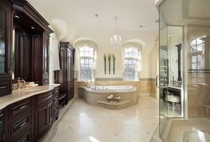 Traditional Master Bathroom with Undermount sink, Chandelier, Limestone, Limestone counters, Master bathroom, Inset cabinets
