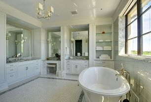 Traditional Master Bathroom with Frontgate - Belmont Vanity Stool, Undermount sink, MS International - Green Eclipse