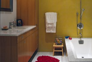 Modern Kids Bathroom with Undermount sink, Red heart bath mat, Pental - bianco perlino honed marble tile, European Cabinets