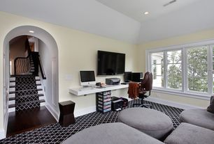 Contemporary Home Office with Carpet, Built-in bookshelf