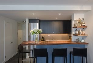 Contemporary Kitchen with Corian counters, Flush, Wood counters, One-wall, slate tile floors, Kitchen peninsula