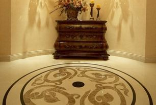 Traditional Entryway with Wall sconce, simple marble floors, Standard height