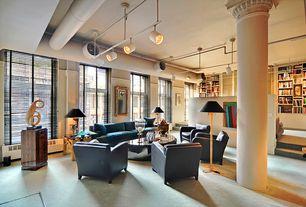 Eclectic Great Room with Sunken living room, flush light, Built-in bookshelf, Columns, Carpet