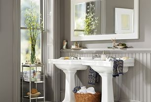 Traditional Full Bathroom with Metal Ategere, Indah Jaquard Towel, Pedestal Single Porcelain Sink Console