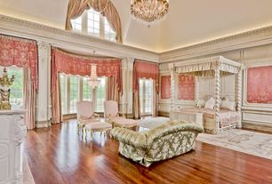 Traditional Master Bedroom with Crown molding, The wood floor store brazilian cherry flooring, Bay window, French doors