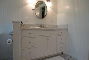 Cottage Full Bathroom with Ms international arabescato carrara, Pottery Barn Kennsington Oval Mirror