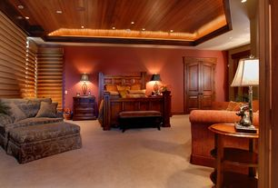Rustic Master Bedroom with High ceiling, Crown molding, Carpet, Brookfield panel bed, French doors