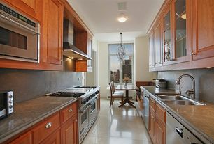Traditional Kitchen with Multiple Sinks, Casement, full backsplash, Wall Hood, Soapstone, built-in microwave, warming oven