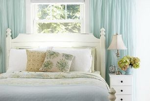 Cottage Guest Bedroom with Sauder Storybook 4-Drawer Chest, Soft White, Pottery bard sofia headboard, Carpet