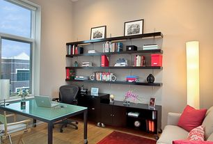 Contemporary Home Office with Built-in bookshelf, Hardwood floors