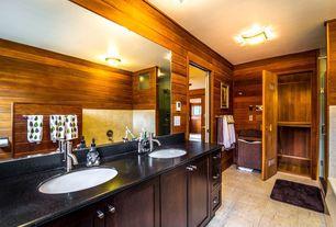 Rustic Master Bathroom with Bathtub, Shower, Simple Granite, frameless showerdoor, Wall Tiles, Master bathroom, Double sink
