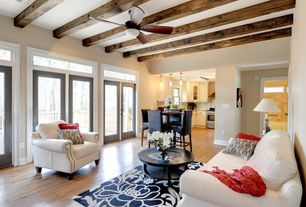 Contemporary Great Room with At home designs- uptown bone leather chair, Paint, Ceiling fan, Pendant light, Exposed beam