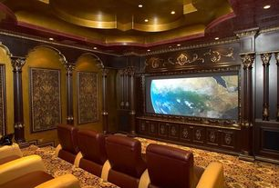 Traditional Home Theater with Crown molding, High ceiling, Columns, Carpet
