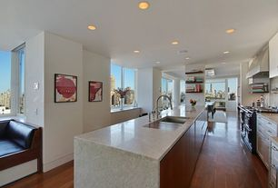 Modern Kitchen with Kitchen island, Breakfast bar, full backsplash, Casement, Standard height, Flat panel cabinets, Wall Hood