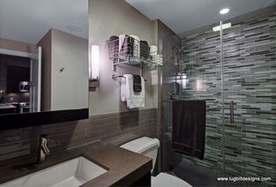Modern 3/4 Bathroom with ash linear glass mosaic wall tile, Simple granite counters, Wall sconce, specialty door, flush light