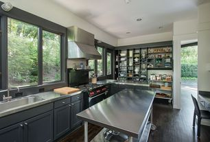Contemporary Kitchen with Buffalo Tools Stainless Steel Work Table, Standard height, Stainless steel counters, gas range