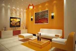 Modern Living Room with Mural, Paint 2, Standard height, can lights, Paint 1, Pendant light, simple marble tile floors