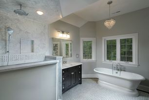 Traditional Master Bathroom with Inset cabinets, Complex marble counters, ceramic tile floors, Flat panel cabinets