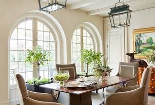 Traditional Dining Room with Restoration hardware 17th c. dutch pendant - bronze, Concrete tile , French doors, Paint 1