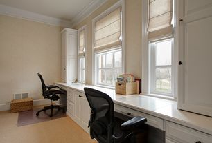 Traditional Home Office with Carpet, double-hung window, Standard height, Crown molding, Built-in bookshelf