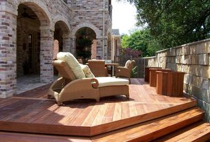 Mediterranean Deck with Fence, French doors, Deck Railing, exterior brick floors, Gate