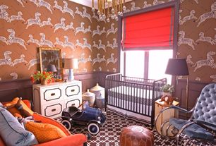 Eclectic Kids Bedroom with Crown molding, Ikram Design Moroccan Pouf Ottoman - Color: Brown, Werstler Dresser - White Lacquer