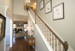 Traditional Entryway with Hardwood floors, Chandelier, High ceiling