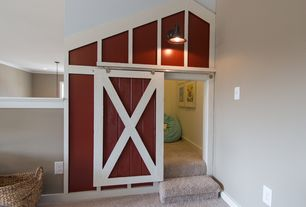 Country Playroom with Quiet glide barn wood door, Carpet, Barn door, High ceiling, Feiss redding station ol860 wall lantern