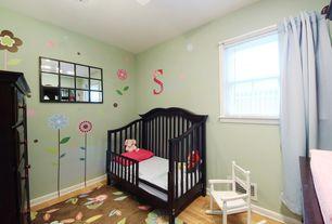 Country Kids Bedroom with Mural, Hardwood floors