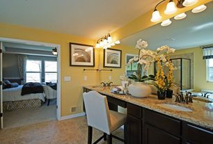 Eclectic Master Bathroom with Inset cabinets, Undermount sink, wall-mounted above mirror bathroom light, Master bathroom