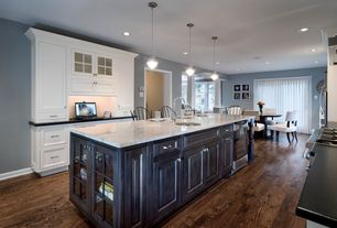 Traditional Kitchen with Columns, Kitchen island, Undermount sink, Flat panel cabinets, Dura Supreme Cabinetry Arcadia Panel
