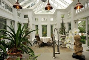 Traditional Dining Room with Sea Gull Lighting Sebring 1 Light Mini Pendant, Conservatory, High ceiling, Skylight, Glass roof