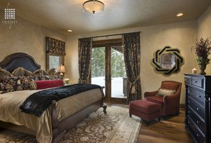Eclectic Guest Bedroom with Paint, Kenroy Home Interchange Dark Brown Wall Mirror, Standard height, Hardwood floors