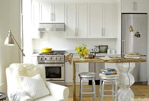Contemporary Kitchen with Wood counters, Sheepskin Throw, Complex Marble, Complex marble counters, One-wall, Flush