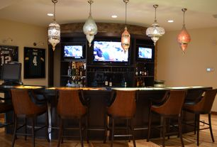 Eclectic Bar with Pendant light, 1st Dibs Mosaik Lightings, Hardwood floors