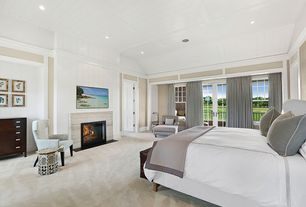 Contemporary Master Bedroom with French doors, High ceiling, Carpet, stone fireplace, Crown molding, specialty door