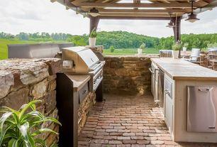 Rustic Patio with Trellis, Outdoor kitchen, exterior brick floors