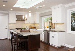 Contemporary Kitchen with Crown molding, Pendant light, L-shaped, Breakfast bar, Large Ceramic Tile, Flat panel cabinets