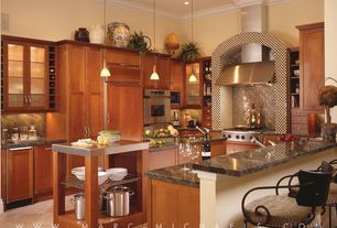 Modern Kitchen with Crown molding, High ceiling, Simple granite counters, U-shaped, Flat panel cabinets, Kitchen island