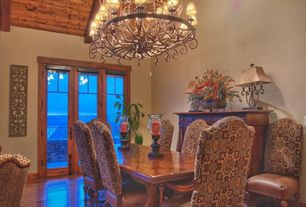 Traditional Dining Room with Freida Full Grain Leather Dining Side Chair with Antique Brass Nailheads, High ceiling