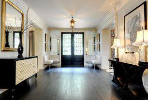 Art Deco Entryway with French doors, Crown molding, Dream home - st. james  12mm+pad flint creek oak, Laminate floors