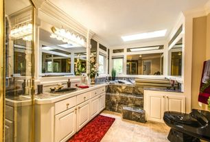 Traditional Master Bathroom with drop-in sink, Flush, complex granite tile counters, Shower, Master bathroom, Crown molding