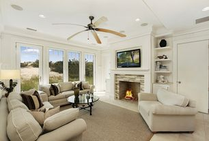 Modern Living Room with Ceiling fan, Daltile Colorwave Downtown Oasis Random Mosaic, Crown molding, Built-in bookshelf