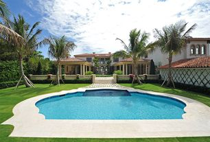 Mediterranean Swimming Pool with Pathway, Fence, exterior tile floors