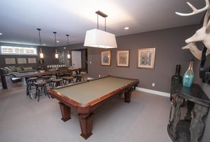 Traditional Game Room with Pendant light, Butler Specialty Masterpiece Collection Demilune Console Table, flush light, Carpet